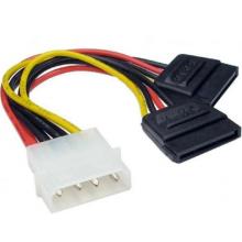 Molex to 2 SATA Dual Power Y Splitter Adaptor Cable