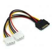 SATA to 2 Dual 4Pin IDE Molex Power Lead Y Splitter Cable