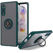 LG Velvet 5G Clear Kickstand Ring Case with Color Border