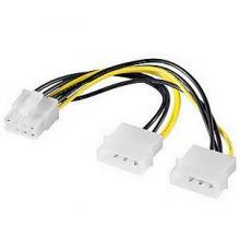 2x Molex 4pin to 1x 6 Pin PCI-E Video Card Power Adapter
