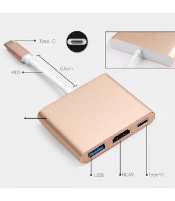 USB 3.1 Type-C USB-C (Thunderbolt 3) to HDMI+USB3.0+TypeC M/ F 3 in 1